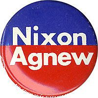 Official 1972 Nixon Agnew CREEP Campaign Logo Button