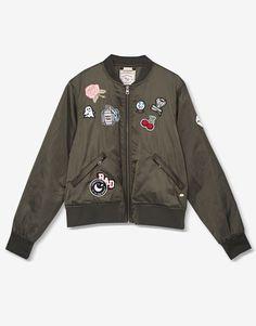 Cazadora bomber parches - Prenda exterior - Teen Girls Collection - Mujer - PULL&BEAR México