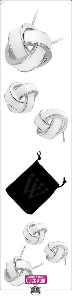 GWG® Conjunto Collar y Pendientes Enchapado en Plata de Ley Nudo con Raya Blanca Insólito para Mujeres  ✿ Joyas para mujer - Las mejores ofertas ✿ ▬► Ver oferta: https://comprar.io/goto/B01H57C2DS