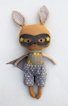 Items similar to Stuffed bunny plush rabbit toys superhero ragdoll stuffed toy as easter gift for toddlers, bunny kids, softie for babyshower on EtsySuperhero Superbunny cuddly toy to the rescue by La Loba StudioToys and Games Softies, Plushies, Sewing Toys, Sewing Crafts, Sewing Projects, Sewing Ideas, Bunny Toys, Bunny Plush, Fabric Toys