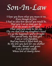 Personalised Son In Law Poem Birthday Daughter Wishes For