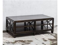 Shop+for+Uttermost+Asadel+Wood+Coffee+Table,+25632,+and+other+Living+Room+Tables+at+Colorado+Style+Home+Furnishings+in+Denver,+CO.+Carved+moldings+and+open+fretwork+made+from+plantation-grown+mango+wood+in+soft,+worn+black+finish.