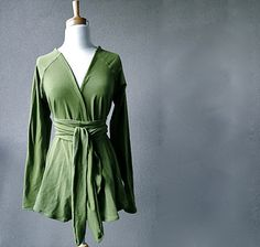 Long sleeved cardigan  spring green cardigan  long knit by econica, $110.00