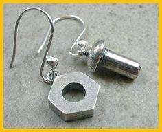 .925 Sterling Silver Nut and Bolt Dangle Earrings - Wedding earings (*Amazon Partner-Link)