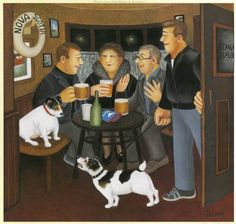 Art For All, art prints and originals - In The Snug by Beryl Cook English Artists, British Artists, Beryl Cook, Local Painters, Plus Size Art, Funny Sexy, Cook Art, Watercolor Sketch, Naive Art