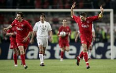 The epic comeback in Istanbul begins after Steven Gerrard scores the first goal for @Liverpool FC against AC Milan #LFC