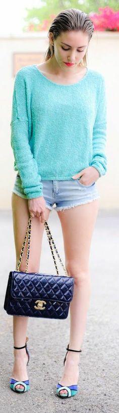 Mi&co Mint Drop Shoulder Knit Jumper by Personal Style
