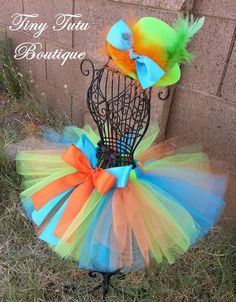 MAD HATTER Orange Green Blue baby/child Tutu by TinyTutuBoutique, $30.00