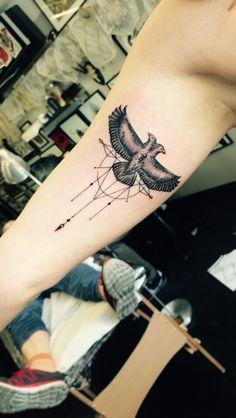 Inner arm tattoo eagle dream catcher