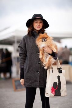 Fashionologie editor Christina Perez and her pom Bjorn  (how cute is that jason wu for target tote?!)