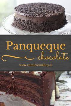 Torta panqueque chocolate Chocolate Pancakes, Chocolate Desserts, Chilean Recipes, Chilean Food, Delicious Desserts, Dessert Recipes, Pancake Cake, Biscuits, Diy Cake