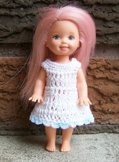 Kelly 4 1/2  Doll White Dress with Pale Shaded Blue Edge Crochet