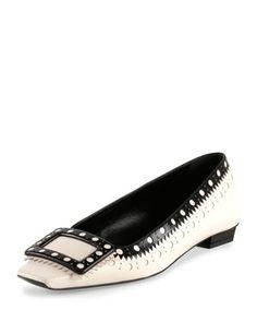 Belle Vivier Fibbi Low-Heel Pump, White/Black by Roger Vivier at Neiman Marcus.