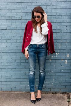 Red blazer + white lace up blouse + skinny jeans + black pointed toe pumps