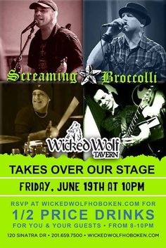 Screaming Broccoli LIVE on Stage! Wicked Wolf welcomes SCREAMING BROCCOLI to the stage on Friday, June 19th! June 19, 2015