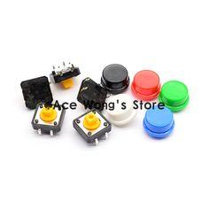 """משלוח חינם, 100 יחידות מתג לחצן מגע רגעי כפתור מתג מיקרו 12*12*7.3 מ""""מ + (5 צבעים * 20 יחידות = 100 יחידות תאקט שווי)"""