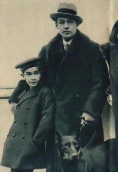 Jean Valentino & his uncle Rudolph Valentino, 1926.