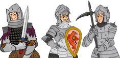 Les trois chevaliers Arthur, Auguste et Guillaume