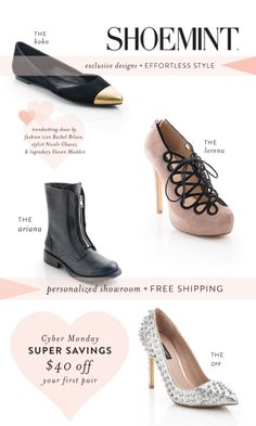 ShoeMint is having a cyber Monday sale. Forty dollars off your first pair. Now which pretties will you choose? We vote the studded heels