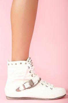 Alexander Spiked Sneaker in White Wedge Sneakers 042ad9369
