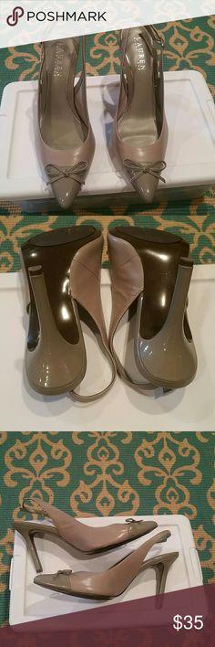 Lauren by Ralph Lauren leather slingbacks. EUC gray leather slingbacks, 7B. Lauren Ralph Lauren Shoes Heels
