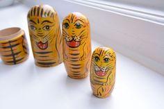 Tiger Russian Doll set of 3, retro, Vintage, kids bedroom.