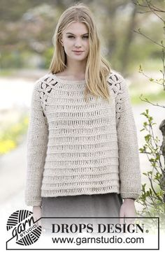 "Priscilla - Crochet DROPS jumper with raglan and lace pattern in ""Air"". The piece is worked top down. Size: S - XXXL. - Free pattern by DROPS Design"
