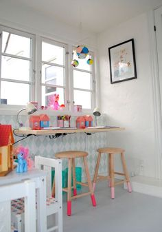Colorful kid's room with ferm LIVING wallpaper