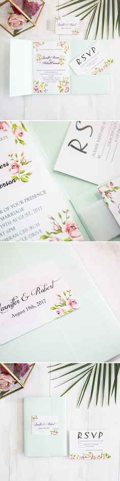 spring and summer green floral wedding stationery with mint green pocket