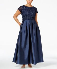 Adrianna Papell's plus size gown pairs a sequined bodice with a taffeta skirt to create a look that wows on any occasion. On-seam pockets make it even more essential!   Polyester; lining: polyester  
