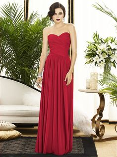 MY FAVORITE SO FAR!   Bridesmaid dress to made the red in Marine Corps Dress Blues.   Dessy Collection Style 2880  Full length strapless lux chiffon dress w/ banded rouch detail on bodice. Sweetheart neckline and natural waist. Slightly shirred skirt.
