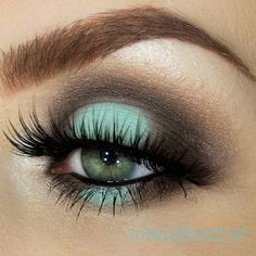 Mac: aqua in the center of the eyelid and ground brown in the crease Makeupgeek…