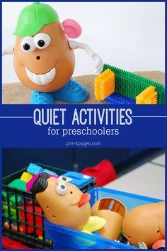 Favorite Quiet Center Activities for Preschool and Kindergarten Kids.