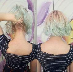 Short Pastel Green hair color