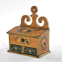 Carved and Painted Pine Hanging Spice Box by Skinner - 274286 Painted Chest, Painted Boxes, Hand Painted, Antique Boxes, Antique Shops, All Wood Furniture, Country Furniture, Painted Furniture, Wall Boxes