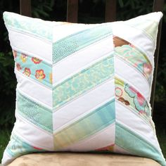 Zig Zag Pillow Cover / Chevron Quilted Pillow by ModernPartiQuilts
