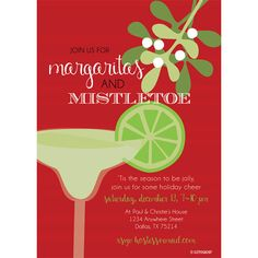 Margaritas and Mistletoe Party Digital Invitation by KateOGroup