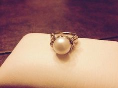Ann King sterling silver and 18k pearl ring with white sapphire accents - http://designerjewelrygalleria.com/ann-king/ann-king-sterling-silver-and-18k-pearl-ring-with-white-sapphire-accents/