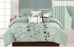 Legacy Decor 7 Pcs Floral Embroidered Microfiber Comforter Set Blue Teal - Sage & Brown Queen Size