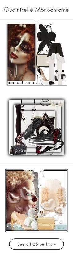 """Quaintrelle Monochrome"" by bibiantje-m on Polyvore featuring mode, monochrome, Valentino, Nivea, fashionhoroscope, stylehoroscope, Jean-Paul Gaultier, Balmain, Jil Sander en Loewe"