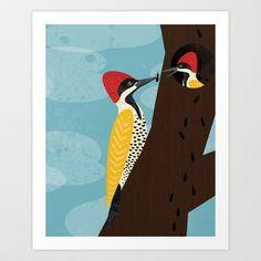 Woodpeckers Art Print by Eine Kleine Design Studio