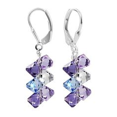 SCER009 Sterling Silver Lavender Blue and Clear Crystal Earrings Made with Swarovski Elements for only $16.99