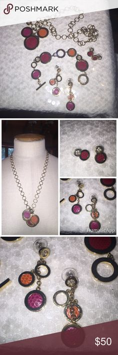 Anne Klein 4 pc necklace earrings bracelet leather Absolutely beautiful! Perfect set. Two pairs of earrings, one dangle and The others are small. Rhinestones and leather inlay. Pristine! Necklace is 26 inches long including the pendant and it has a 3 inch extender. Anne Klein Jewelry Necklaces