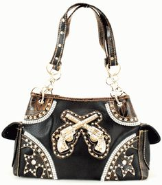 Purses Western Black with Metal Guns on Front-western purses,western purse with guns on front,black western purse