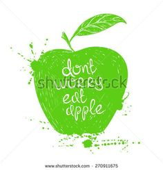Hand drawn illustration of isolated green apple silhouette on a white ...