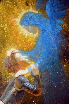 Guardian Angel by Victor Nizovtsev. Victor Nizovtsev, Holy Art, Prophetic Art, Angel Pictures, Angels Among Us, Guardian Angels, Angel Art, Religious Art, Ikon
