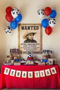 Western Cowboy Party Wild West Cowboy Themed First Birthday Party - was a great dessert table!Wild West Cowboy Themed First Birthday Party - was a great dessert table! Cowboy First Birthday, Rodeo Birthday Parties, 2 Birthday, Rodeo Party, Cowboy Theme Party, Horse Birthday, Birthday Party Themes, Birthday Ideas, Country Birthday Party