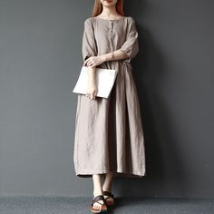 Women solid color summer cotton linen loose dress