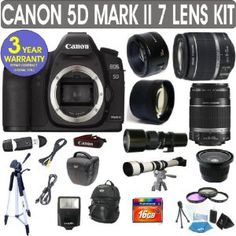 Canon EOS 5D MARK II + Canon EF 28-135mm Lens + Canon EF 75-300mm UltraSonic Lens + Canon 50mm Lens +500mm Preset Lens + 650-1300mm Lens + .40x Fisheye Lens + 2x Telephoto Lens + 3 Year Celltime Warranty Repair Contract by Canon. $3199.90. Canon EOS 5D MARK II admirable performance with 21.1 Megapixel full-frame CMOS sensor with DIGIC 4 Image Processor. Large 3-inch LCD monitor with DIGIC 4 Technology. EOS technologies like Auto Lighting Optimizer and Peripheral Ill...