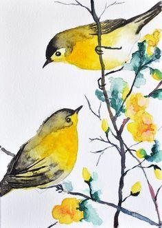 ORIGINAL Watercolor bird painting - 2 Warblers / Romantic birds / Cute birds 6x8 inch by janie